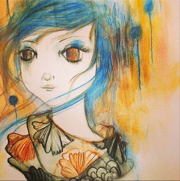 Water color pencils and pastel freestyle..