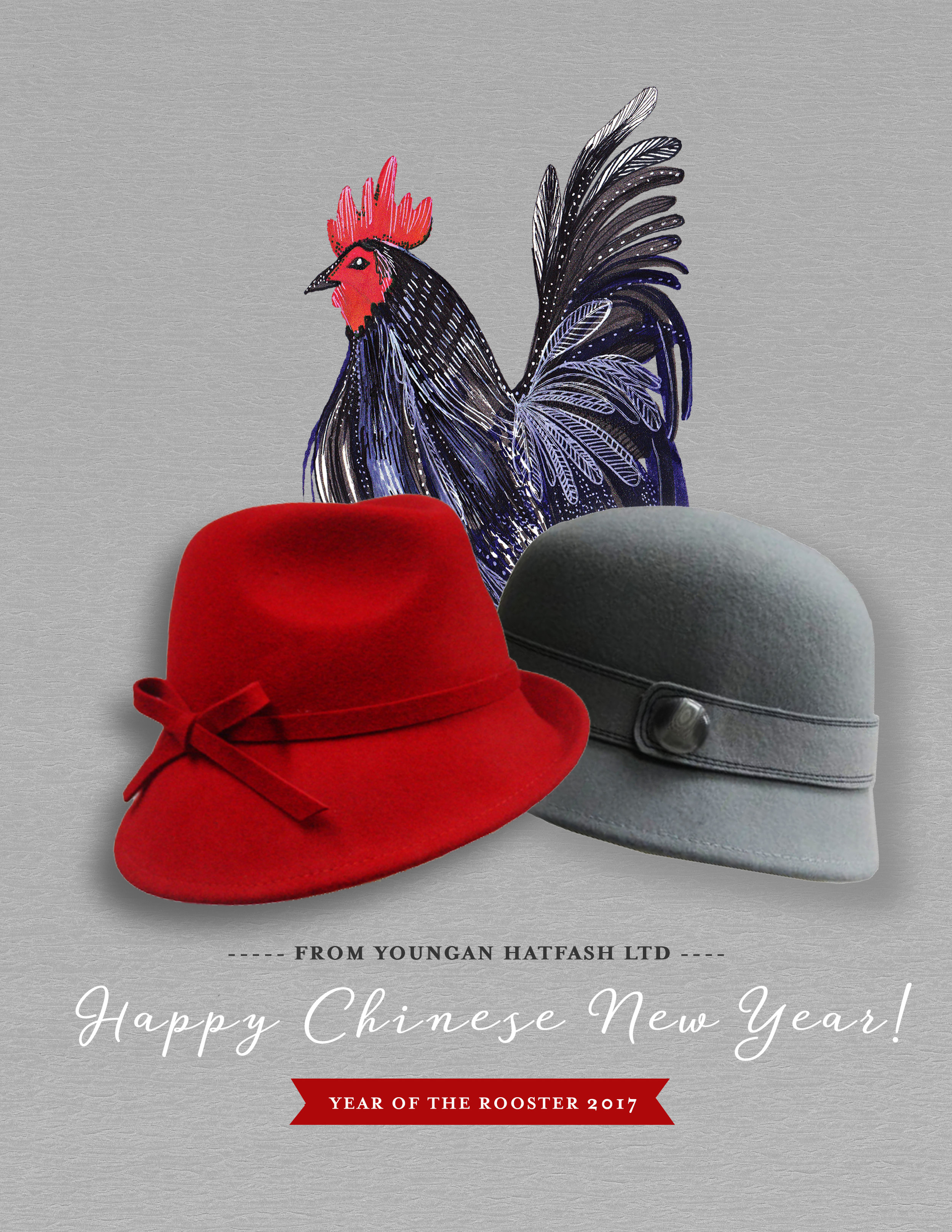 Hatfash Limited, TST, Hong Kong China. Hat Trading Company. Seasonal Email Campaign Ad, Year of the Rooster.