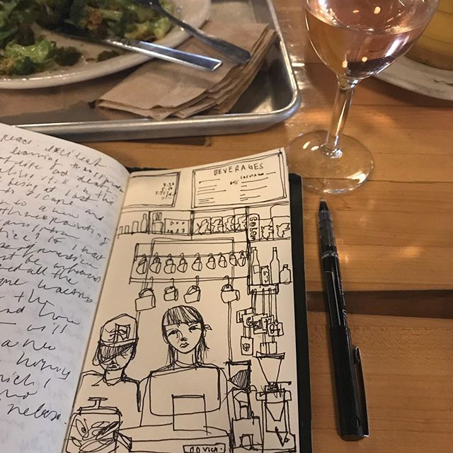 Working on some fast random #cafe #cafebar sketching.. I fucking miss this so much. #cafesketch #ontheroad #missingbrooklyn #artistlife #lincolncafebrooklyn @lincolnstation the fried broccoli and rose combo was soooooo good. Some magic sauce in the broccoli 🥦 yo! #nyc
