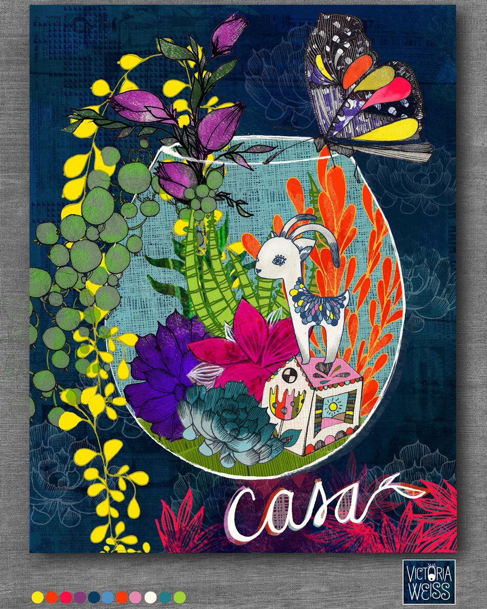 Title: Casa, Journal Cover, Analog Illustration, Finalized Digitally