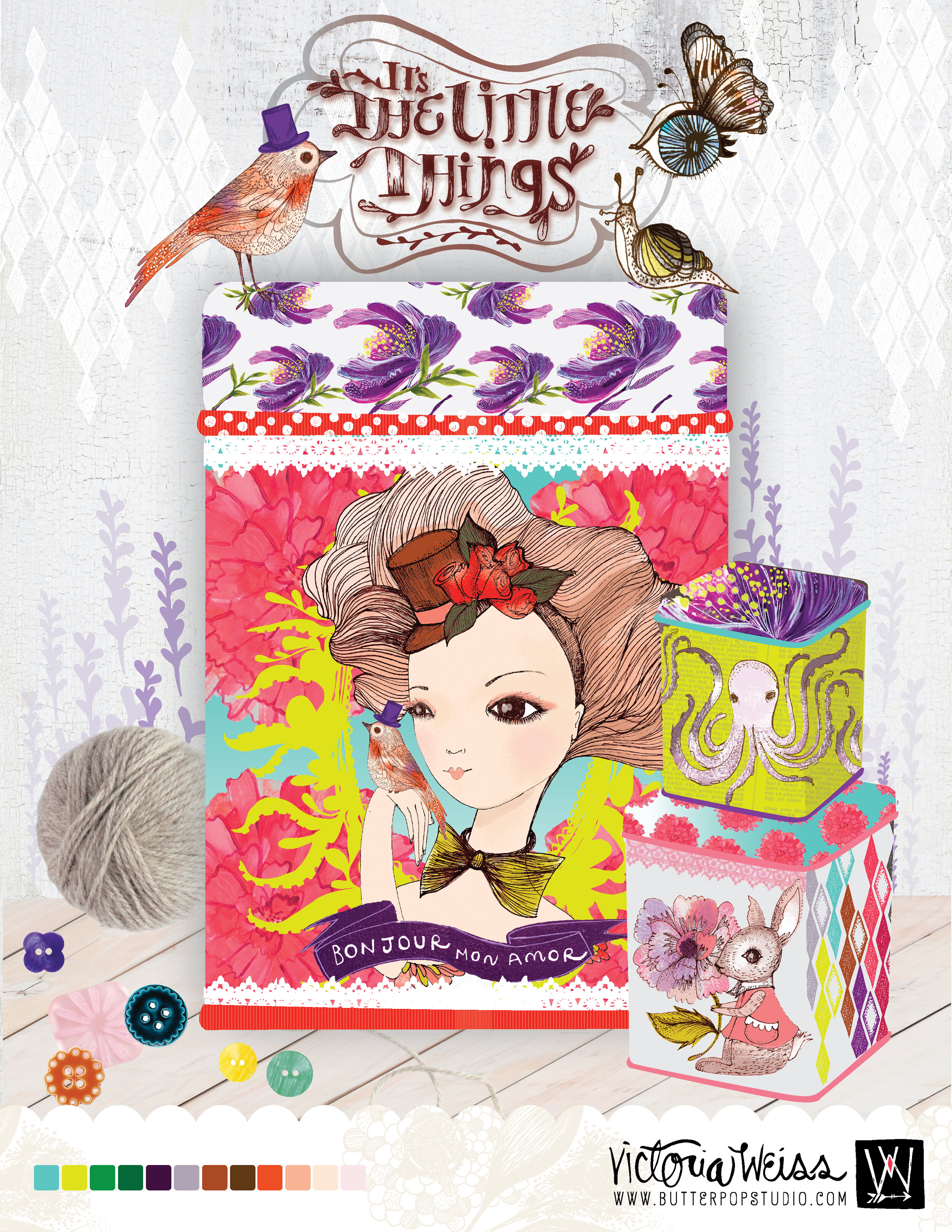 Title: The little things, Design and Illustration on Products. Analogue Illustration Finalized Digitally..