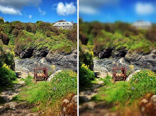 So here we have a quick example of a classic 'tilt-shift' filter being applied within the popular Snapseed app. The image  on the left is without and the image on the right is with it applied. Hopefully you can see what I mean by the 'miniature effect'.