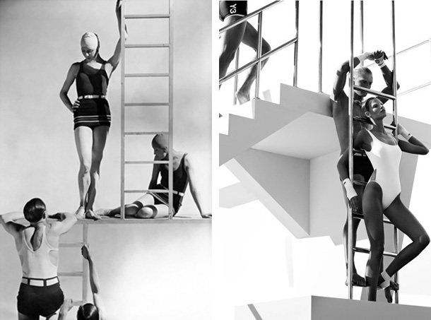The image on the left was taken in 1929 by George Hoyningen-Huene for Vogue. The image on the right by Mikael Jansson for Interview Magazine May 2012. Hoyningen-Huene's entire style of the time was models in bathing suits posed in classical sculpture poses. Mikael Jansson's 2012 editorial was clearly influenced by this as it is a complete removal from his straight to camera posing and separate model shots. Although this is a direct copy its clear to see Jansson's personal influence as he shifts the plane to add depth and reinterprets the lighting to enhance form. This is an  evolved copy.