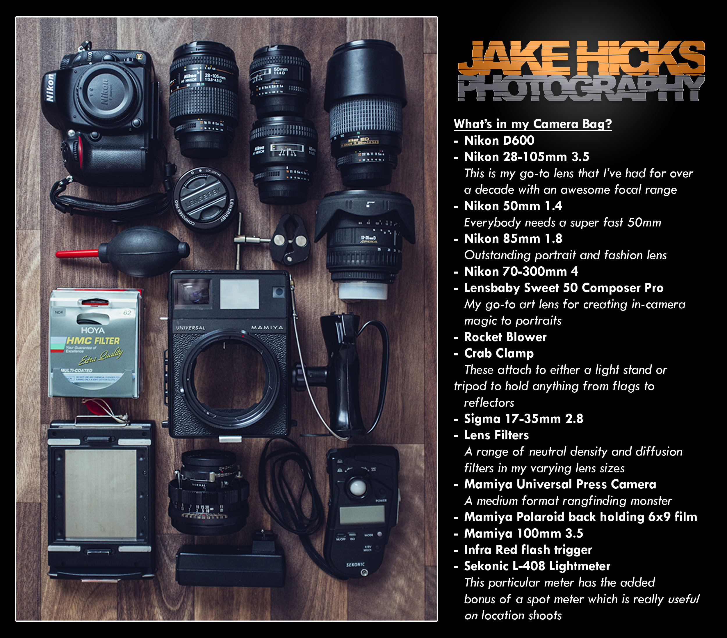 What's In my Camera Bag   I always find it interesting to see what other photographers have in their camera bag so I thought I would return the favour and share what's in mine. I'm certainly not somebody who needs all the latest and greatest gear but what I do have has certainly served me well for many years.
