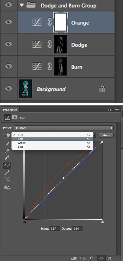 As long as you don't have a mask already applied to your curve adjustment layer you should start to see the coloured effect taking effect its a lot easier to fine-tune.