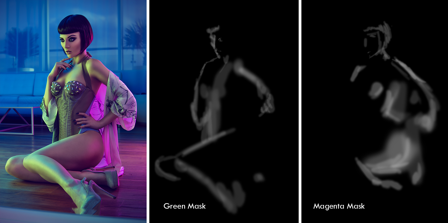 This time I am using a Green Adjustment Mask and a Magenta Adjustment Mask.