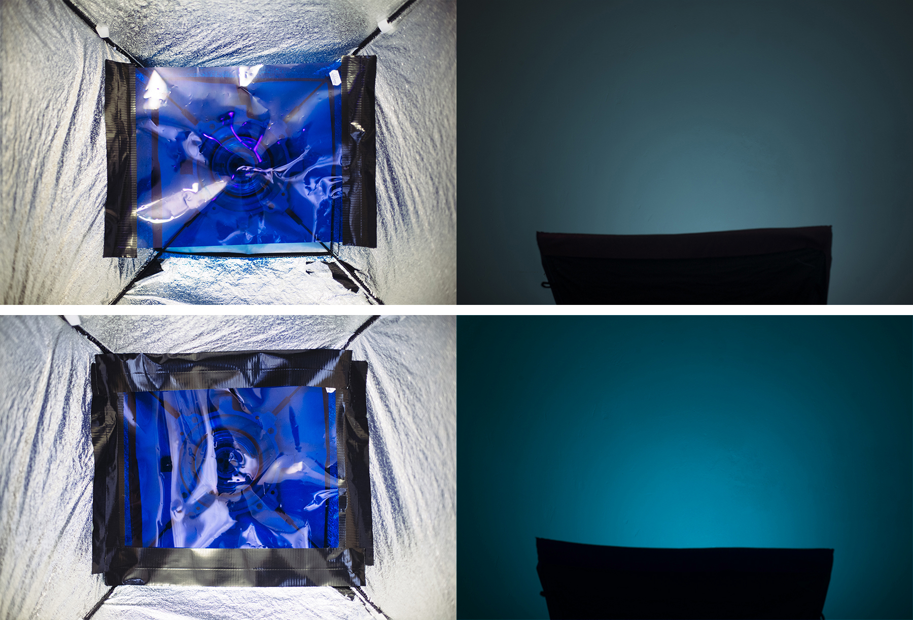 The top images here show that I have only taped the gel inside my softbox on two sides. The resulting righthand side image is showing a paler, washed out colour that is very susceptible to being washed out even further by other lights in the setup.The image at the bottom shows the gel taped in completely on all four sides so that no white light is allowed to escape and wash out the desired colour resulting in a rich and highly saturated colour.