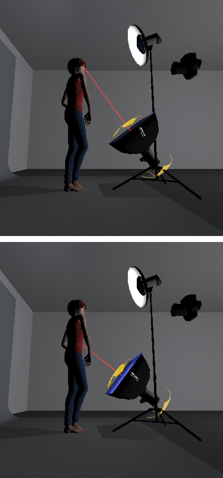 The image at the top displays the common and most obvious fill light placement with it being pointed directly at the models face. This creates an overpowering and often unflattering light due to the softboxes hotspot.The bottom image instead shows a softbox pointed at the models torso,allowing for a far more flattering light to fall onto the face.