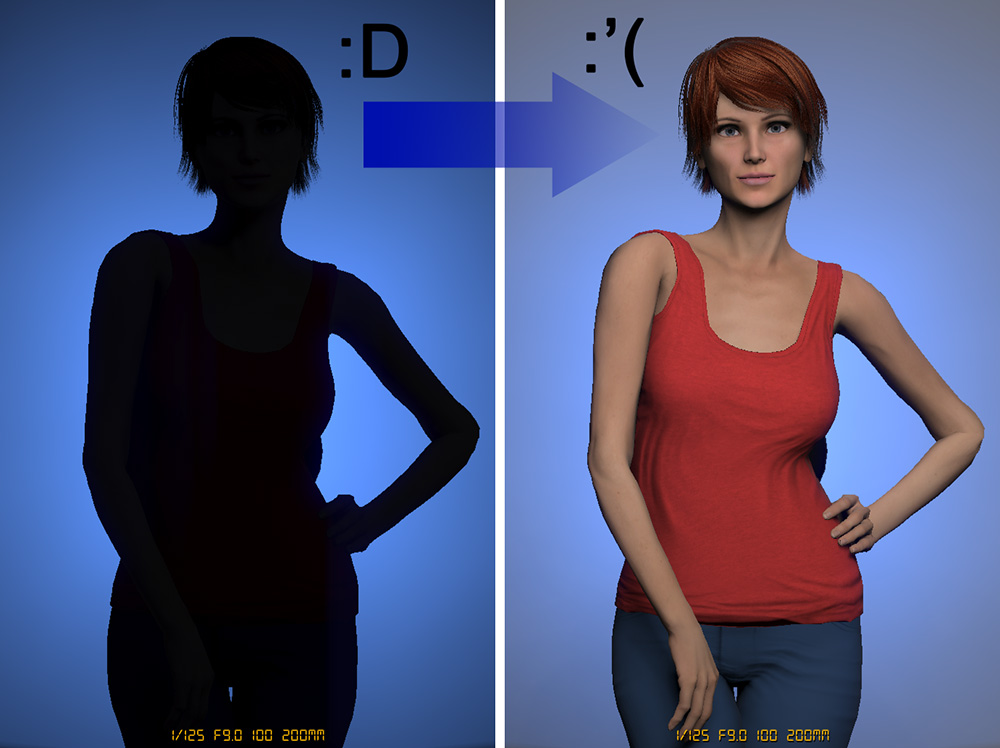 The image on the left is the result of our hard earned efforts to sculpt a perfectly lit gelled background. We've exposed the gel to get the tone we want, we've used the perfect modifier, we've placed it at the right distance from the wall and we've even chosen the right lens. But it's all been ruined in an instant with the addition of just one more light :'(