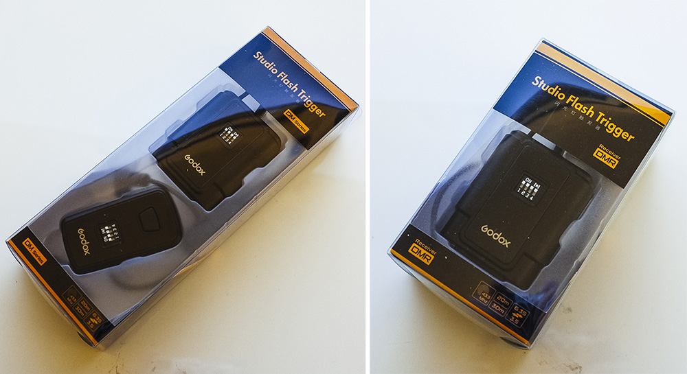 The Godox receiver and transceiver combo pack (on the left) plus an additional receiver (on the right).