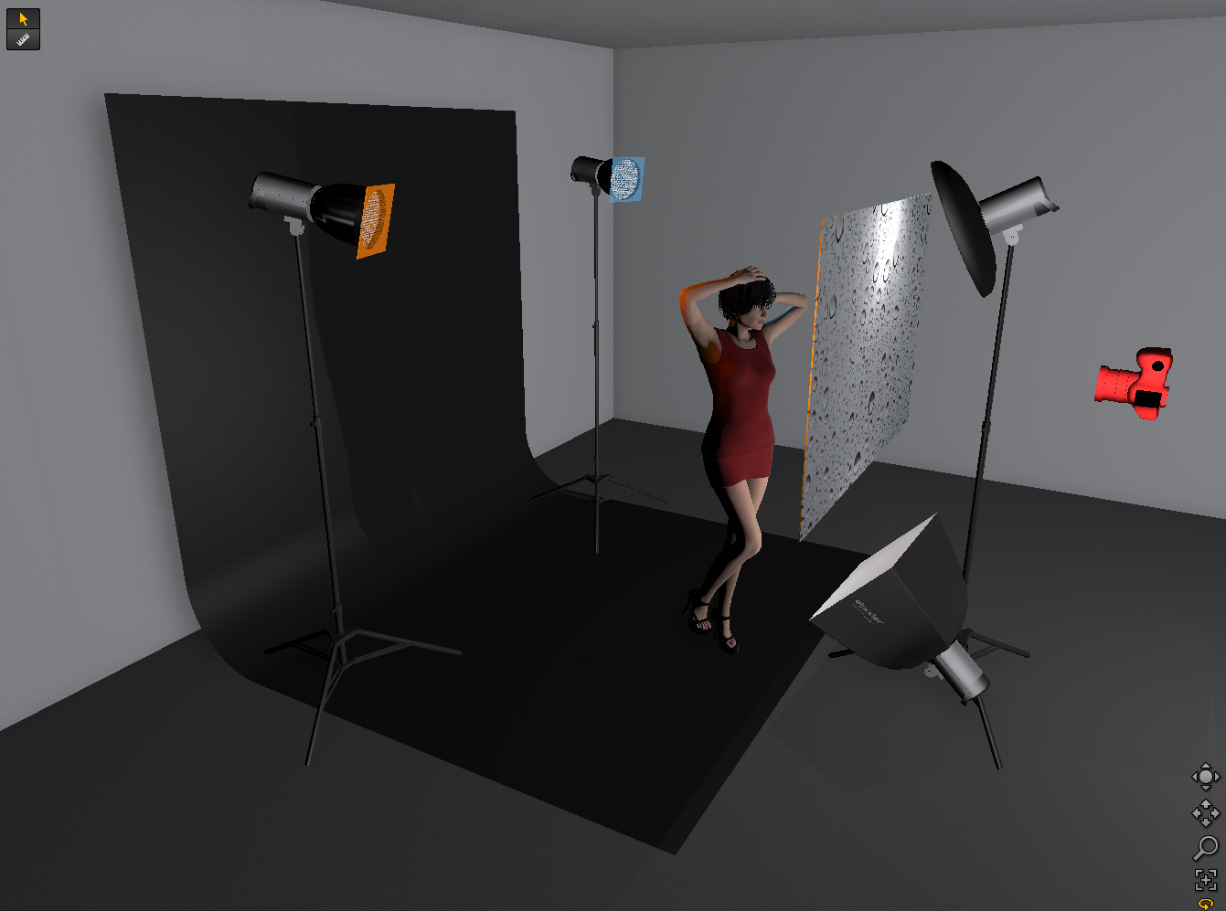 This is the four light setup.  You'll see that the two gridded spots are positioned behind the model pointing towards the camera, these both have gels attached. The beauty dish is positioned nice and close to model and the small soft box is on the floor acting as a fill light.