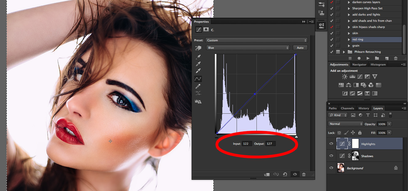 Adjust the Blue Channel Curve for the Highlights Curve Layer.