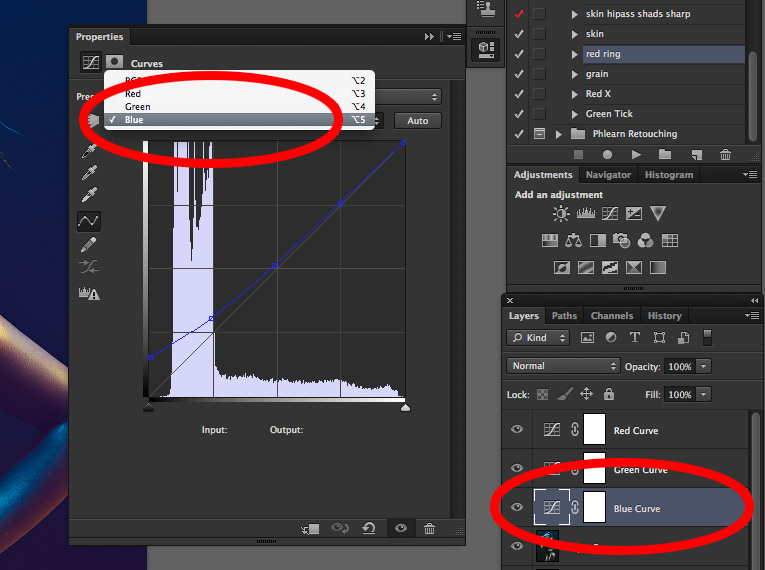 Only make adjustments to the Blue curve in the Blue adjustment curve layer and so on with the other two curves.