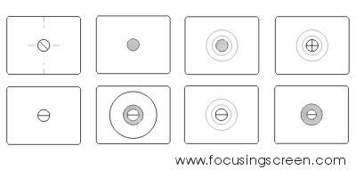 Some examples of focusing screens.  Image courtesy of focusingscreen.com