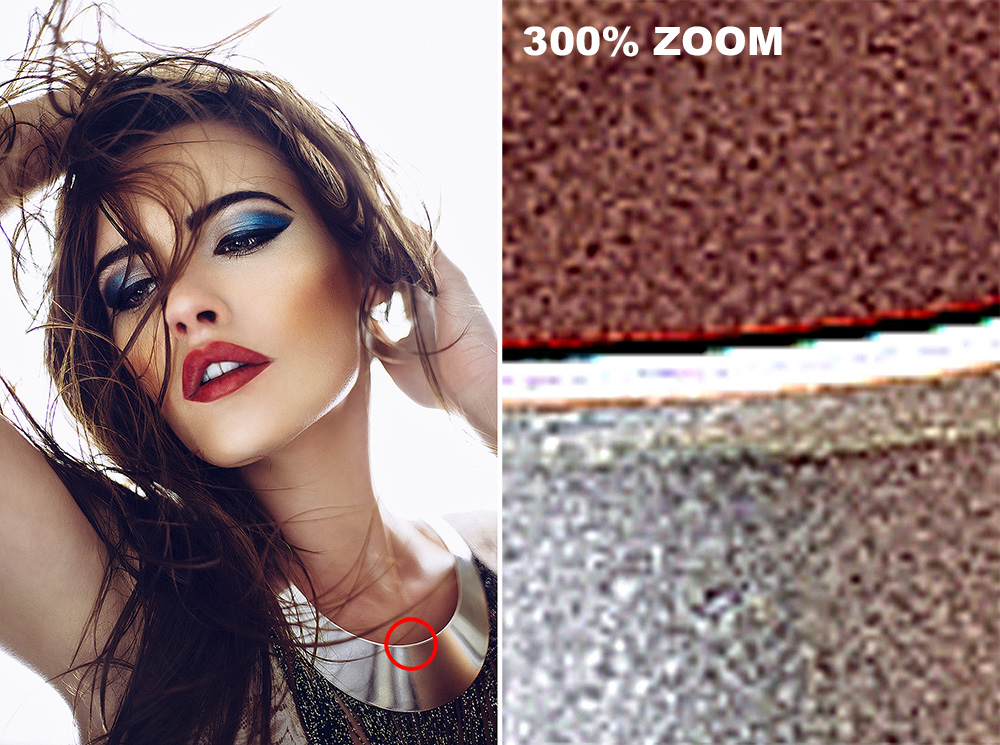 The image on the right is simply a 300% zoom of a section of the lefthand image. In this particular shot you can see what happens when you sharpen a file, see how that increase in sharpening increases the contrast of those adjacent pixels and thereby the saturation. The result is often these unwanted colour artefacts like we see here.