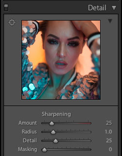 This is Lightroom's default sharpening settings as soon as you import your files. You can see that even the default setting adds a little sharpening to our shots immediately upon import.