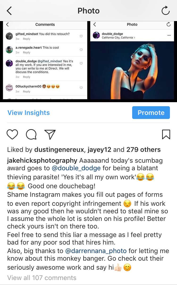 My post on my Instagram page as soon as I found out he'd stolen the shot.