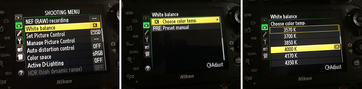 Here's how to adjust the Kelvin via the in camera menu on a Nikon D610