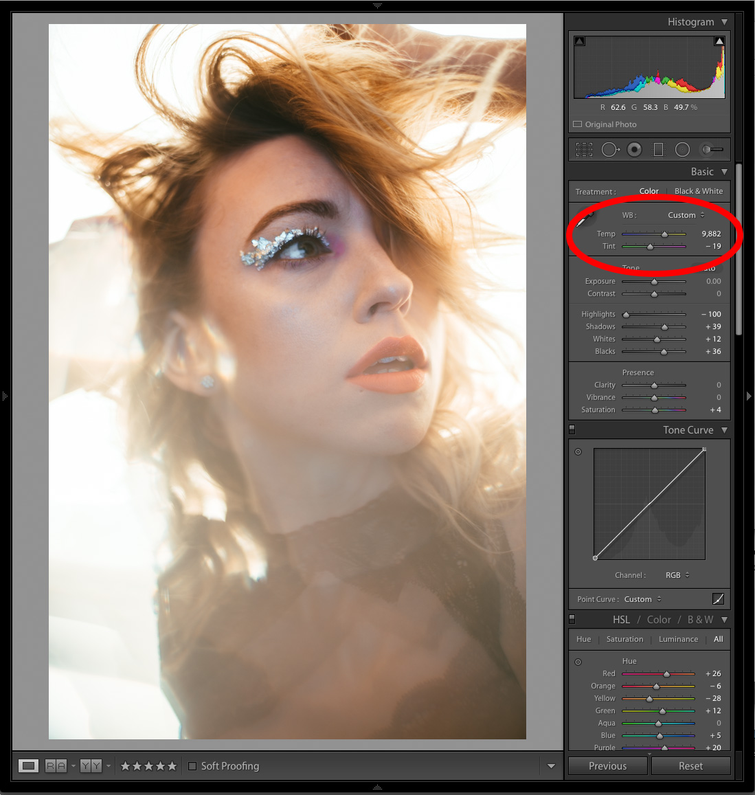 Then I switch my gel to a CTB gel on the reflector. This time I countered the heavy blue light being bounce back onto the model by adjusting my Kelvin all the way up to nearly 10,000K. This is of course adding a lot of orange into the shot which results in that warm glow around the model.