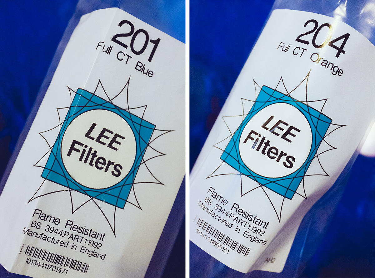 Here are the rolls of gels I used. The LEE Filters 201 Full CT Blue and the 204 Full CT Orange.