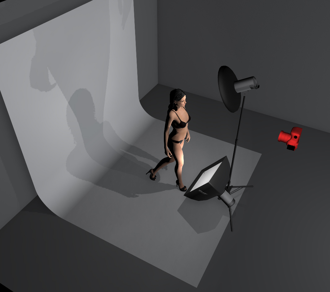 A simple small softbox below the model is all that's needed to add a little fill-light.