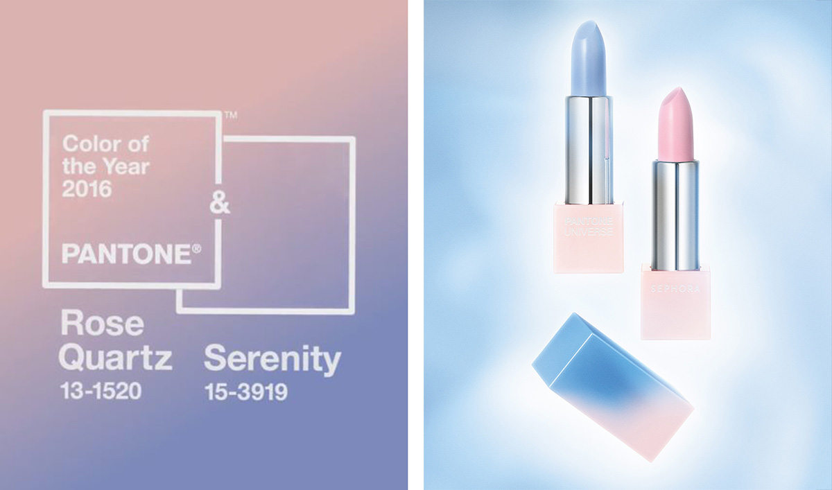 On the left you can see Pantone's colour of the year prediction for 2016. On the right you can see one of their partner companies Sephora releasing their new range of makeup.