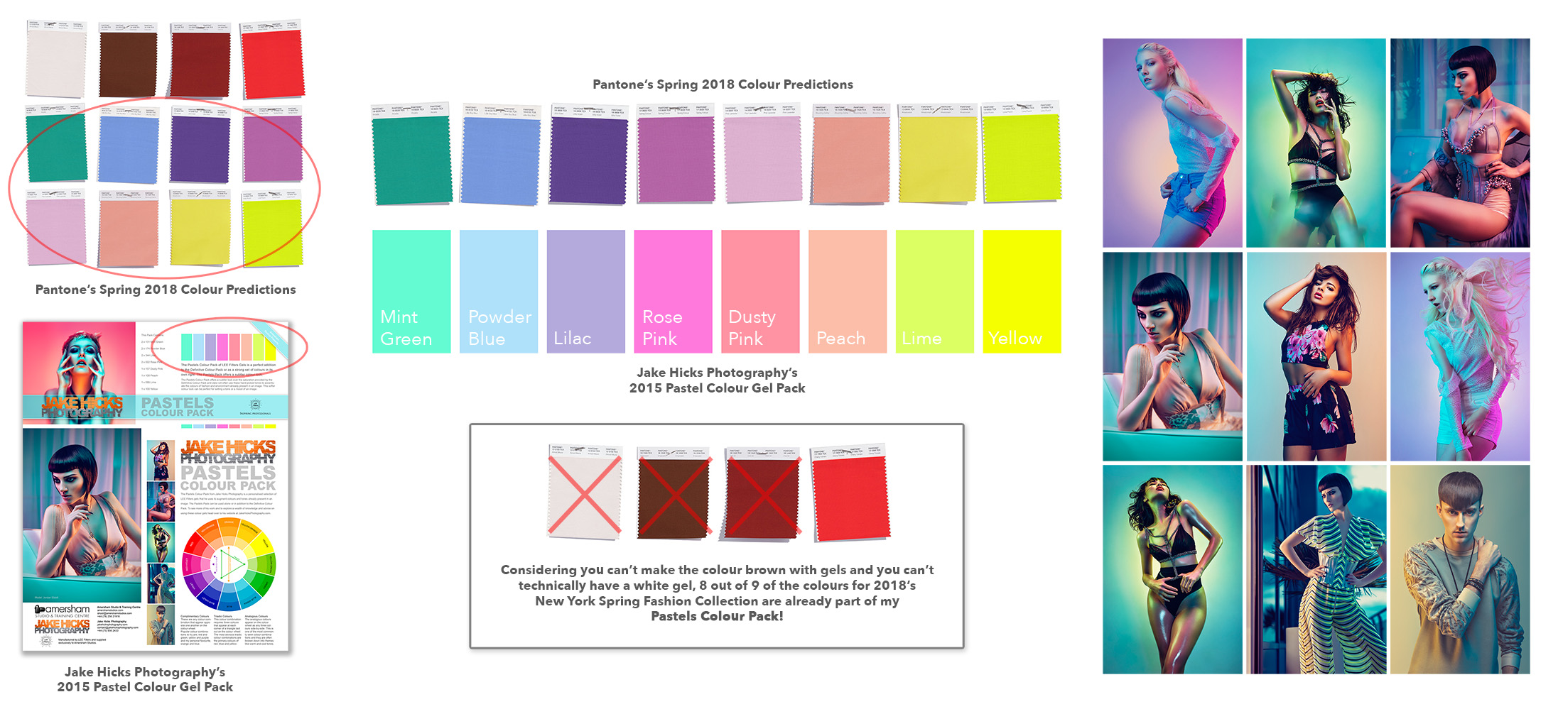 Click to Enlarge   Take a look at the above diagram to see just how close I was two years ago to predicting what colours would be cool in 2018. Pantone's Colour Institute released 12 colours and my Pastels Colour Gel Pack has 8 out of 9 of the potential colours. JHP: Trendsetter extraordinaire at your service people!