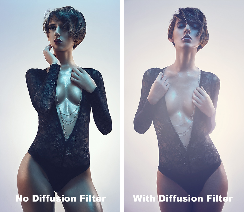 The trick to using diffusion filters in portraits for me is to have lights positioned behind the subject. Here there is a white light pointed towards the wall behind the model in both shots but with the diffusion filter attached you clearly get a hazy, dreamy effect to appear.