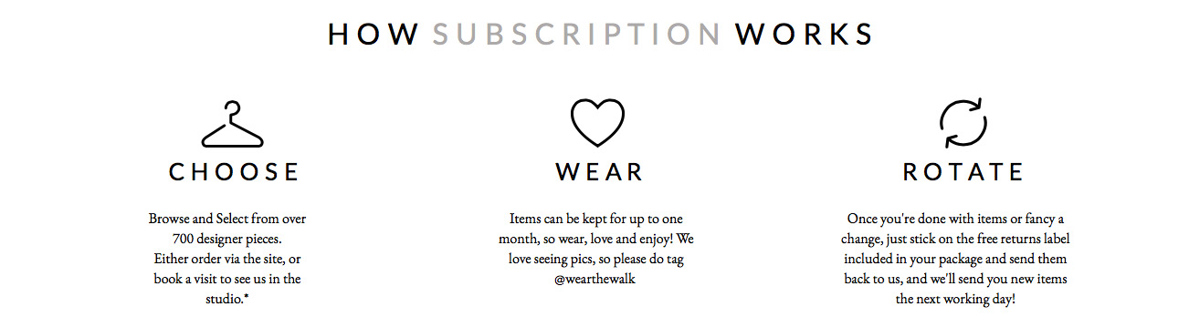 Wear the Walk is a simple service, once you're signed up, choose your item and they'll post it out to you. Once you're done with it, send it back and choose another. Simple as that.