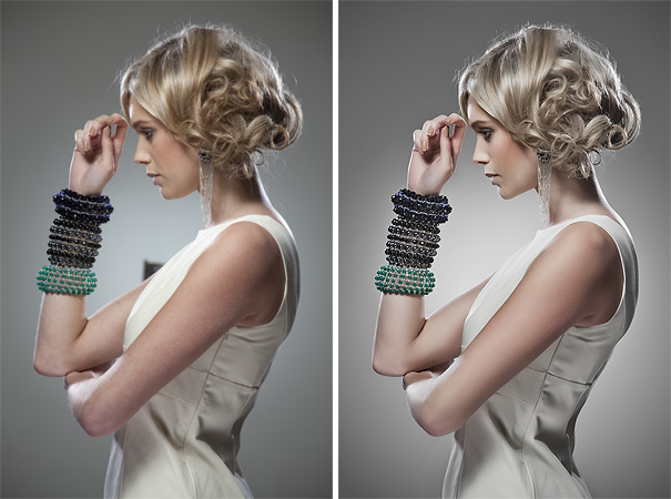 Often with more commercial work like this shoot for a jewellery brand, the images need to be clean and simple with very limited creative input into the post pro of the final shot. Before on the left, final on the right.Photography and retouching by Jake Hicks Photography.