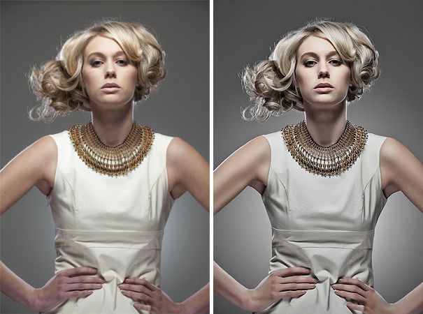 Although there is little in terms of actual post pro done here, even small decisions like skin tone and colour balance can have a big overall impact on the final outcome. Before on the left, final on the right.Photography and retouching by Jake Hicks Photography.