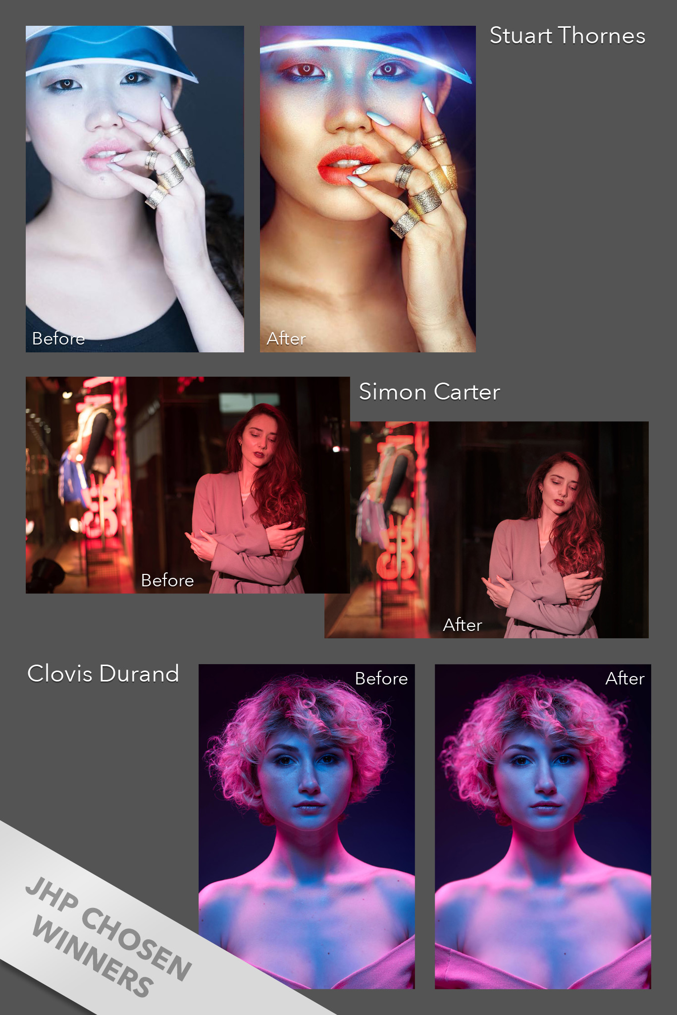 With the winners of the competition announced, all that was left for me to do, was to retouch the wining shots myself.