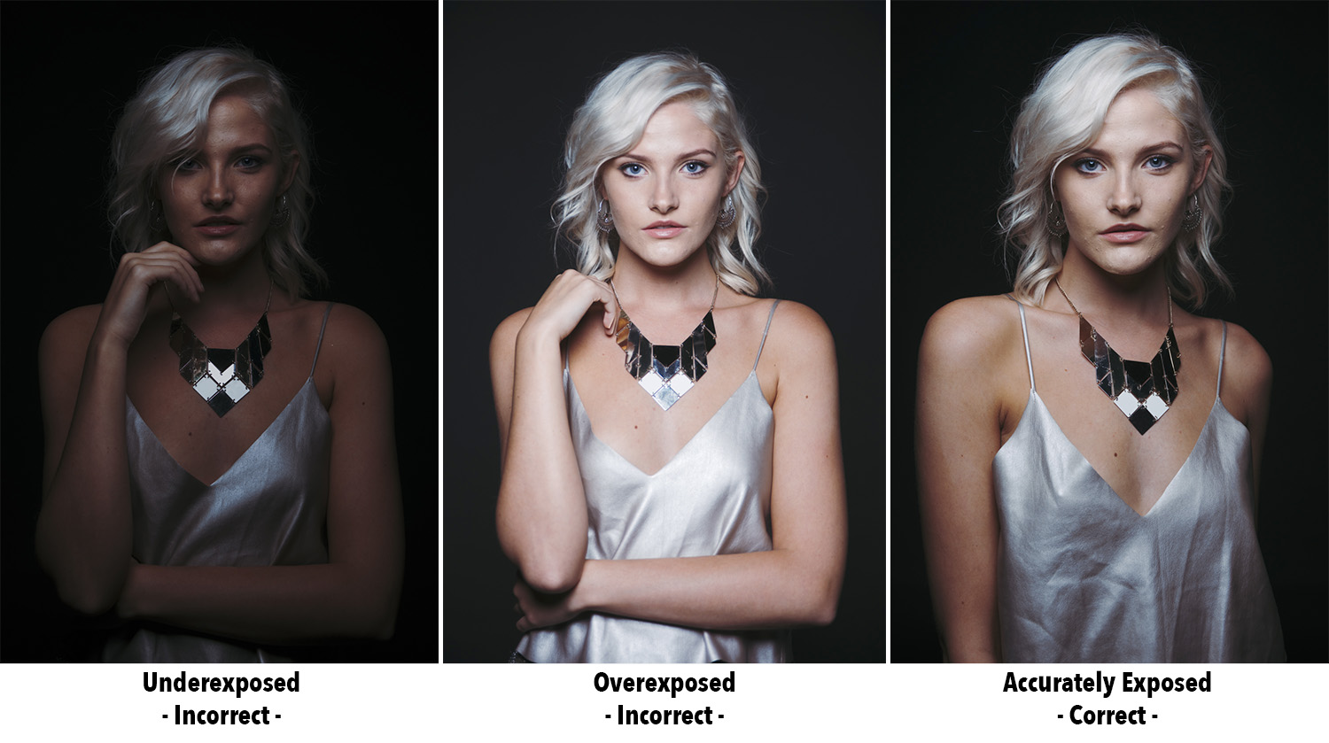 The above images show an example of 'objective lighting'. When you have an objective in mind like lighting a person in a portrait there are right and wrong exposures. This objective light must be correctly exposed for you to fulfil your goal of lighting a portrait.