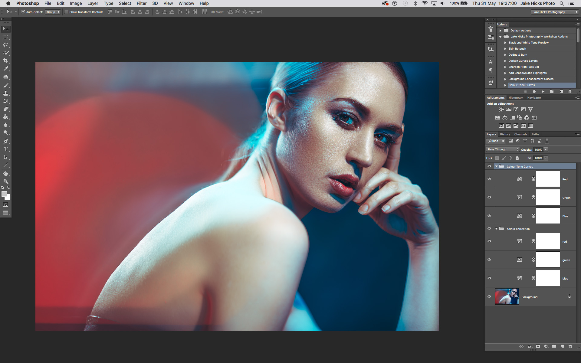 In the image above, you can see how I have my colour correction curves laid out in my layers stack as well as my colour grading ones too.