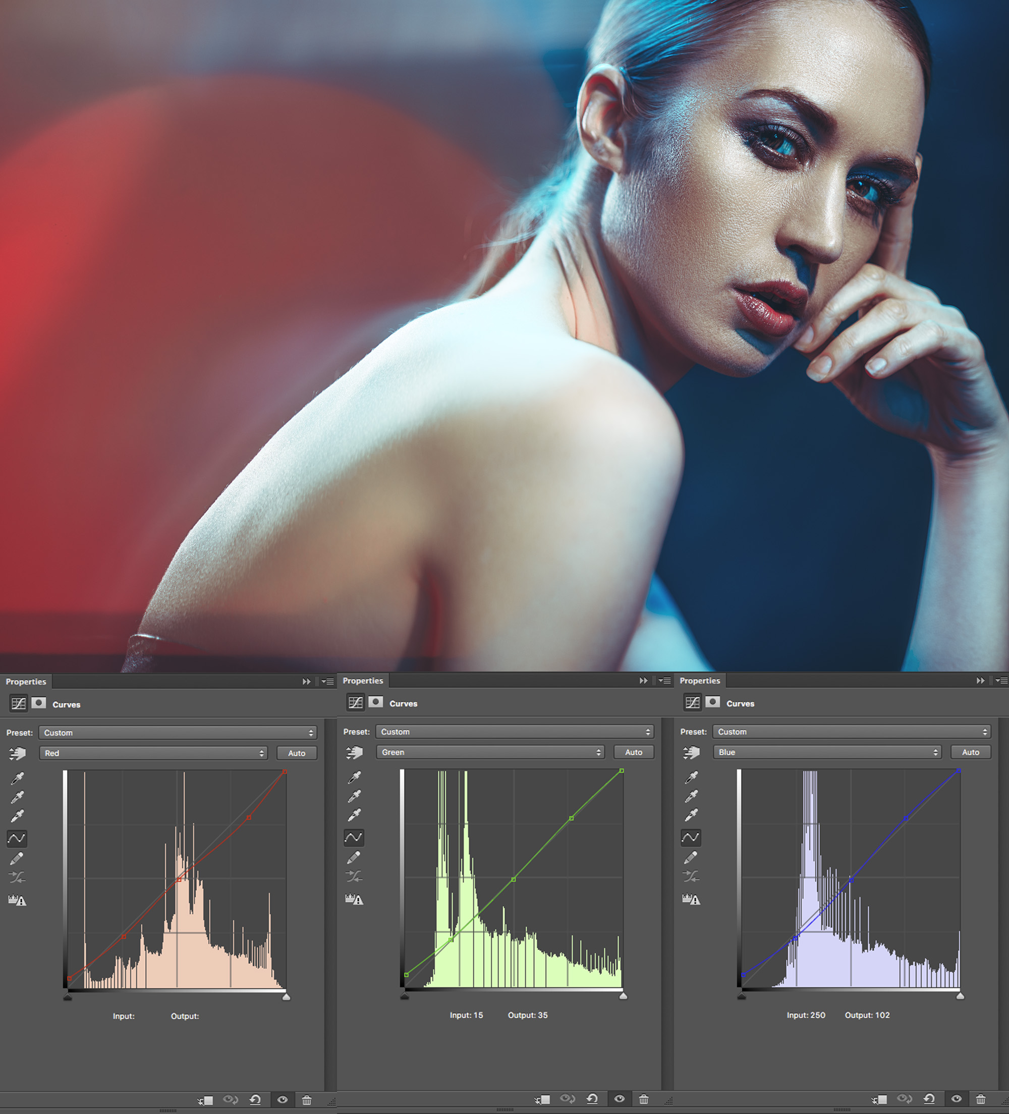 Above we see the addition of our colour grade curves.  -click to enlarge