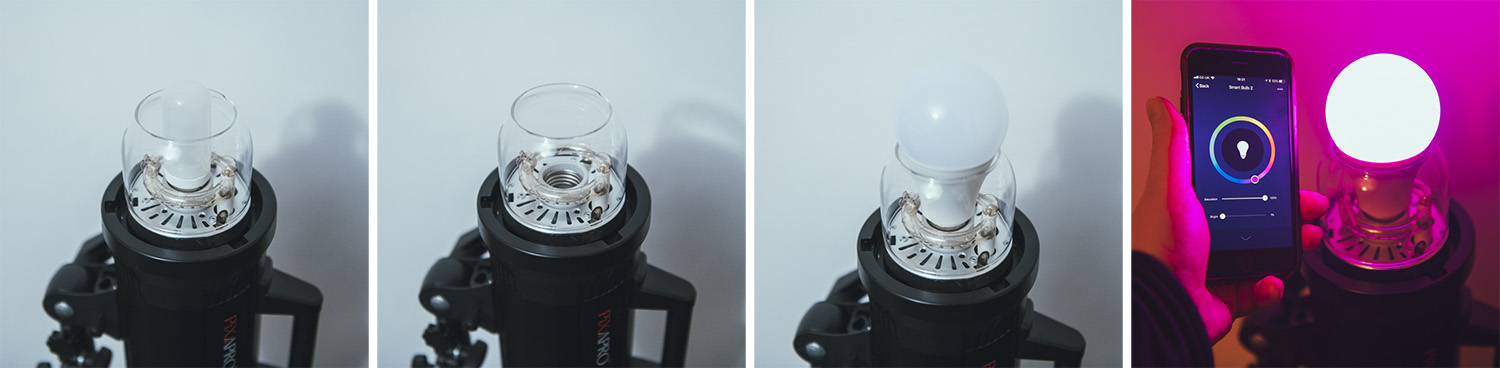 These coloured LED bulbs can replace your regular tungsten modelling bulbs in your strobes. Simply remove the old bulb and screw the new ones in.