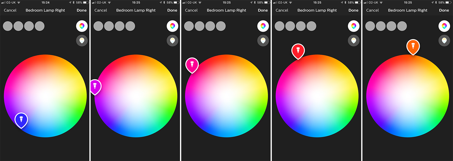 Choosing the colour you want on these LED bulbs is as simple as downloading the free app and tapping the colour you want.