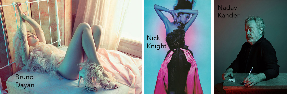 Images above are from photographers Bruno Dayan, Nick Knight and Nadav Kander.
