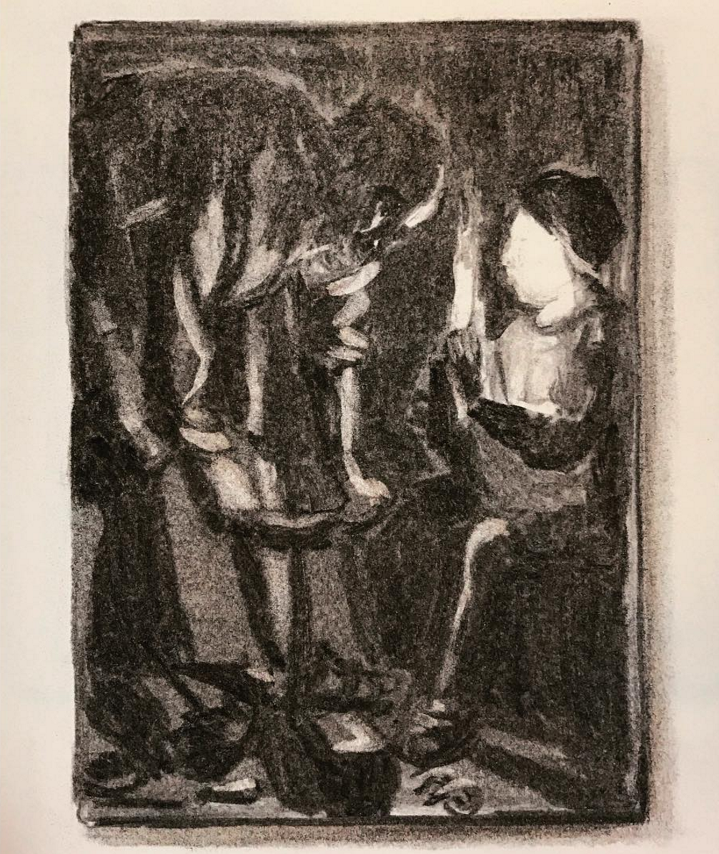 """Postcard of """"Joseph the Carpenter"""" after Georges de la Tour"""