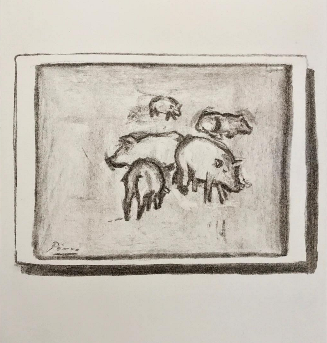 "Postcard of Picasso's ""Pigs"""