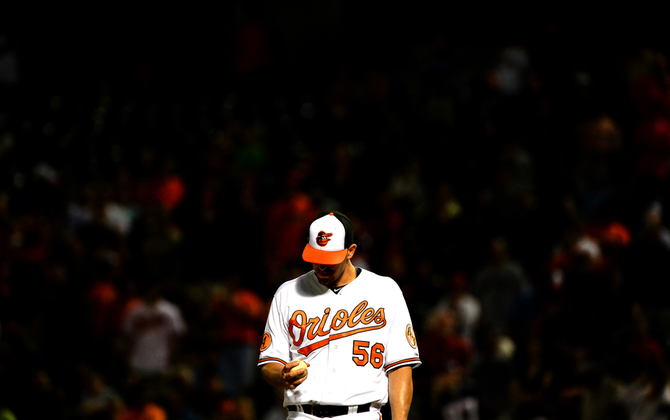 Baltimore Orioles pitcher Darren O'Day prepares during a 13 inning game against the Boston Red Sox.