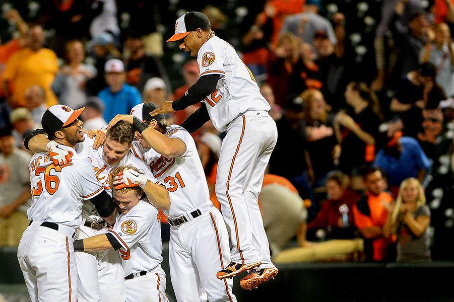 The Orioles win in the 13th inning against the Boston Red Sox on a Chris Davis single to left field.