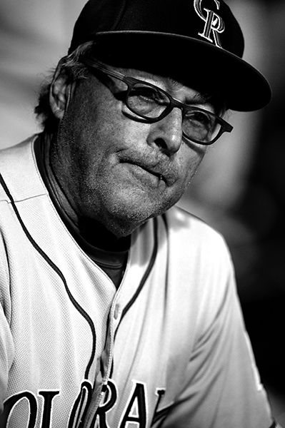 Jerry Weinstein, Colorado Rockies catching coach, looks out on the field during against The Baltimore Orioles, in Baltimore, MD.