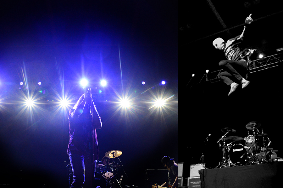 AWOLNATION (left) and twenty one pilots (right) perform during Towson Universities Homecoming week at the SECU Arena on October 6, 2013 in Baltimore, Md.