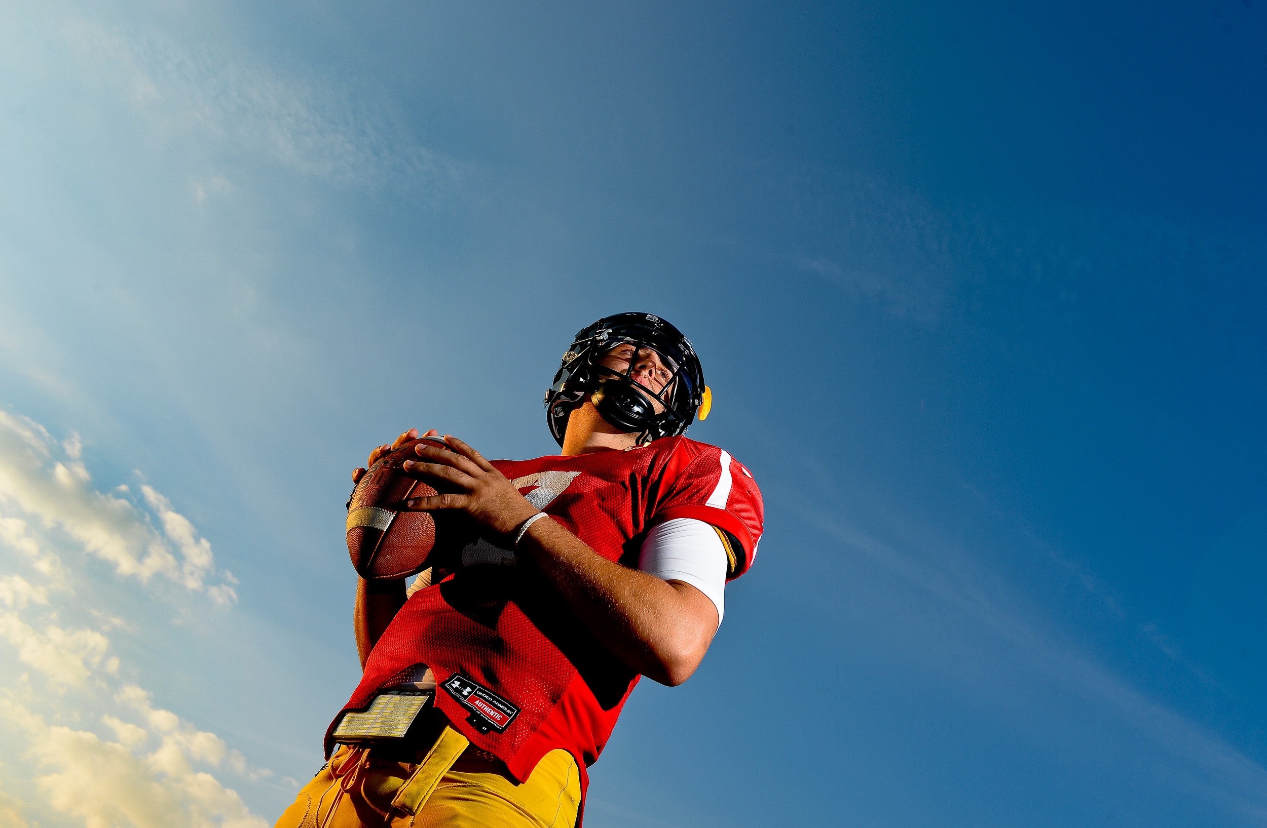 Towson University quarterback Peter Athens poses at Johnny Unitas Stadium on Oct. 1, 2013 in Baltimore, Md.