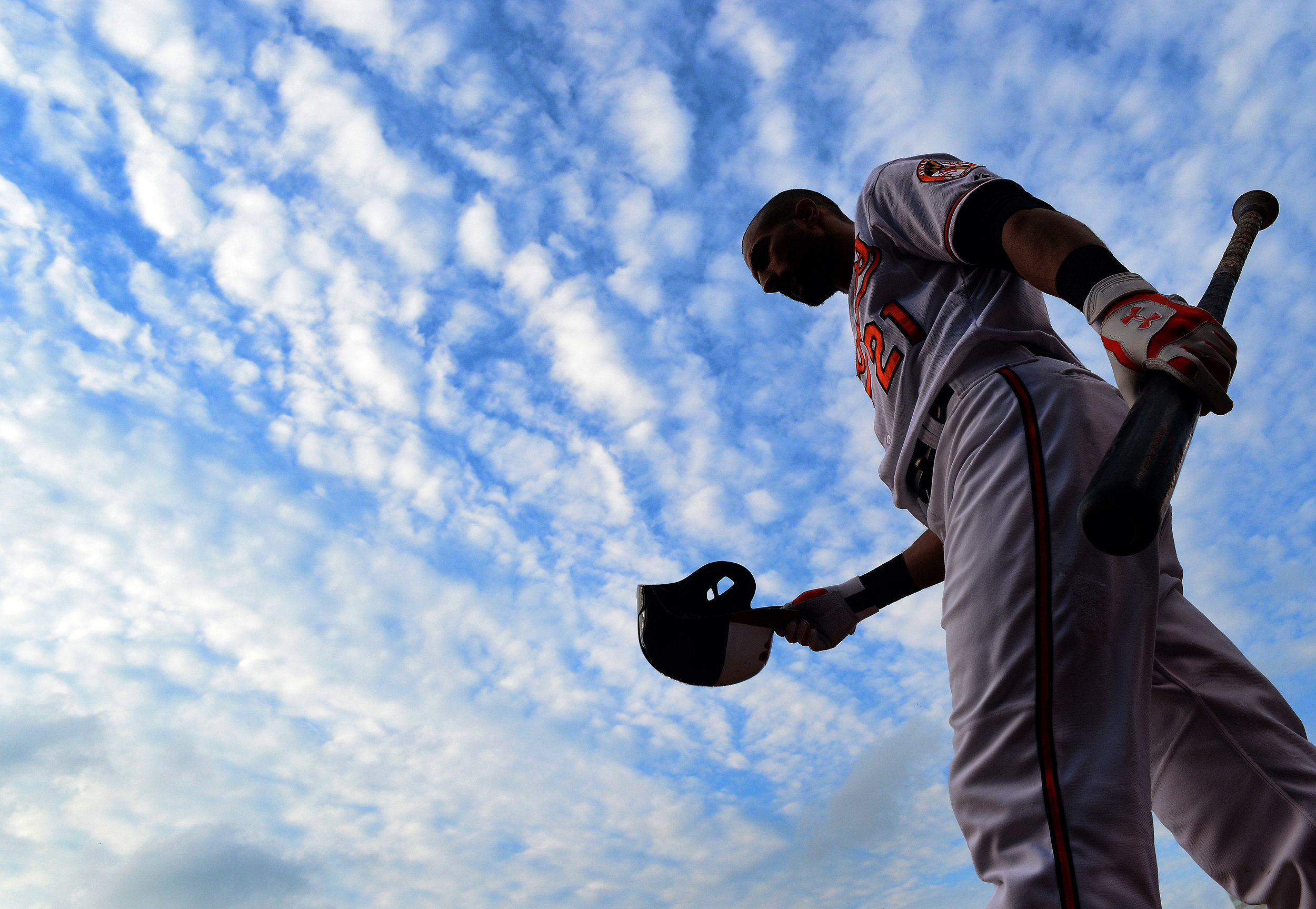 Baltimore Orioles right fielder Nick Markakis prepares for an at-bat on July 31, 2013 in Baltimore, Md.