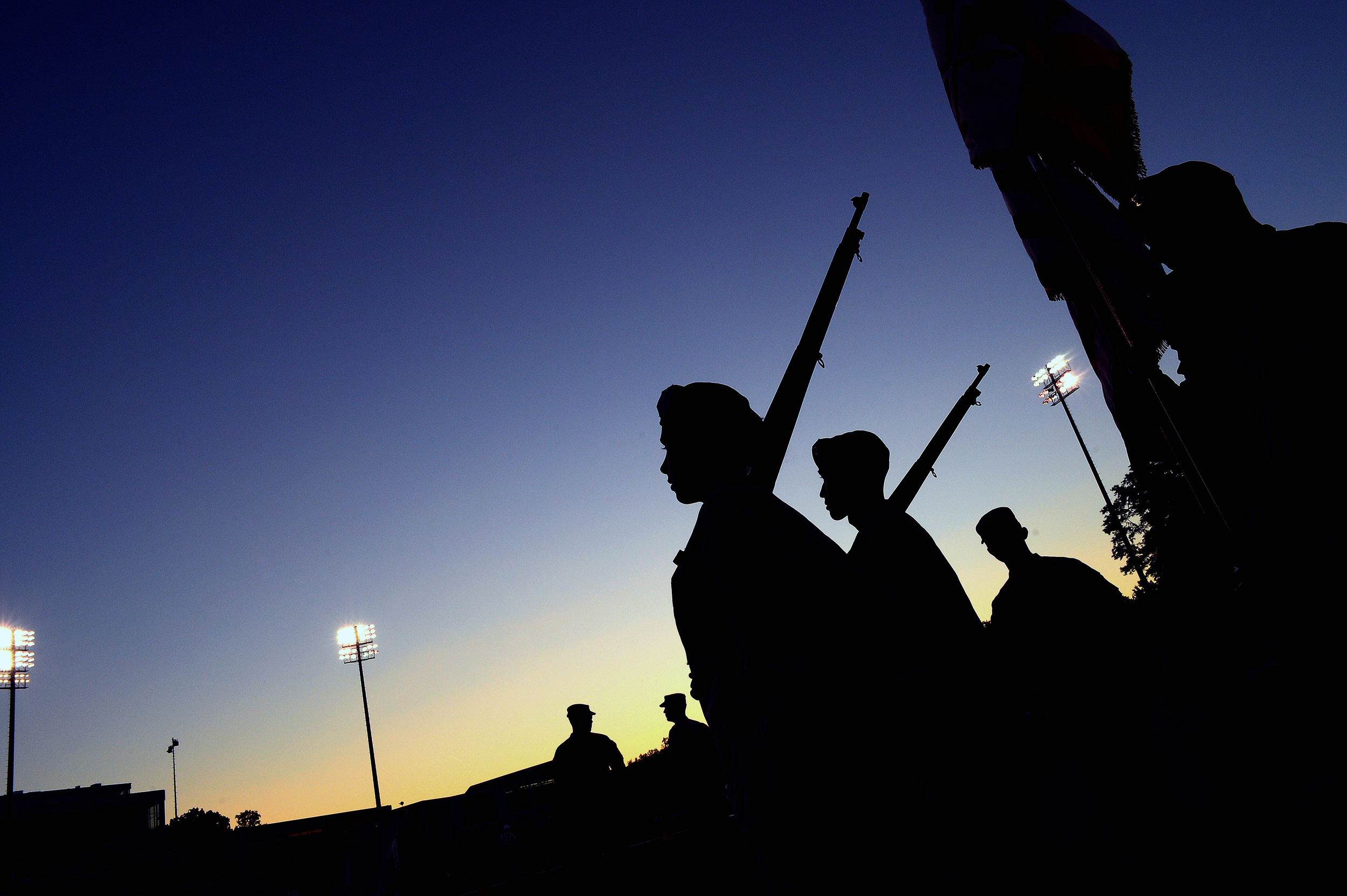 Towson and Loyola University ROTC practice their routine on Sept. 14, 2013 in Baltimore, Md.