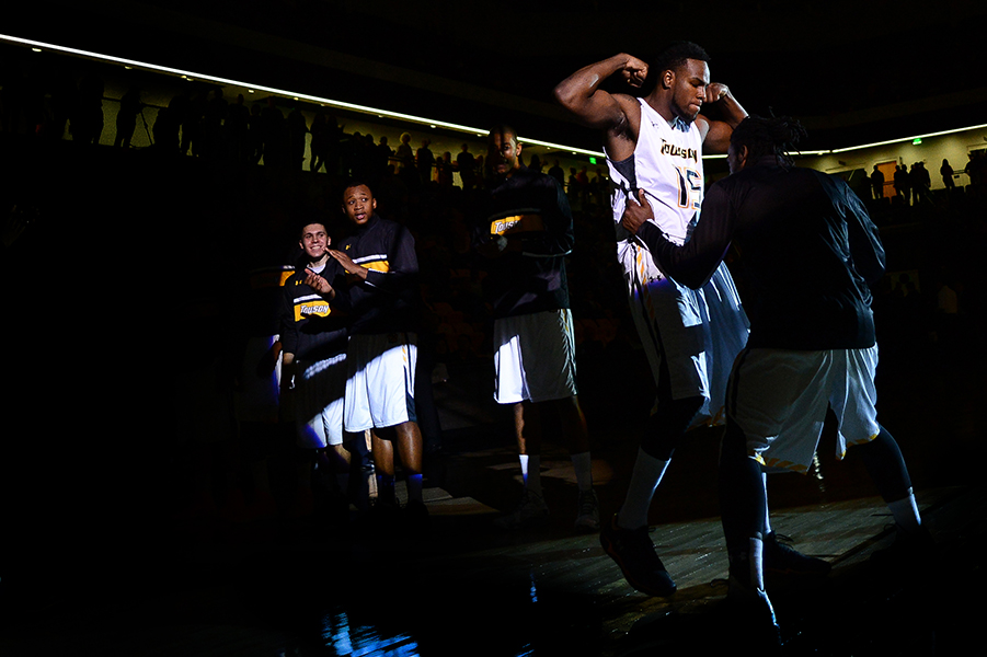 Towson University men's basketball guard Timajh Parker-Rivera is introduced during the inaugural home game in SECU Arena against Navy on Nov. 8, 2013. Towson went on to beat Navy 72-45.