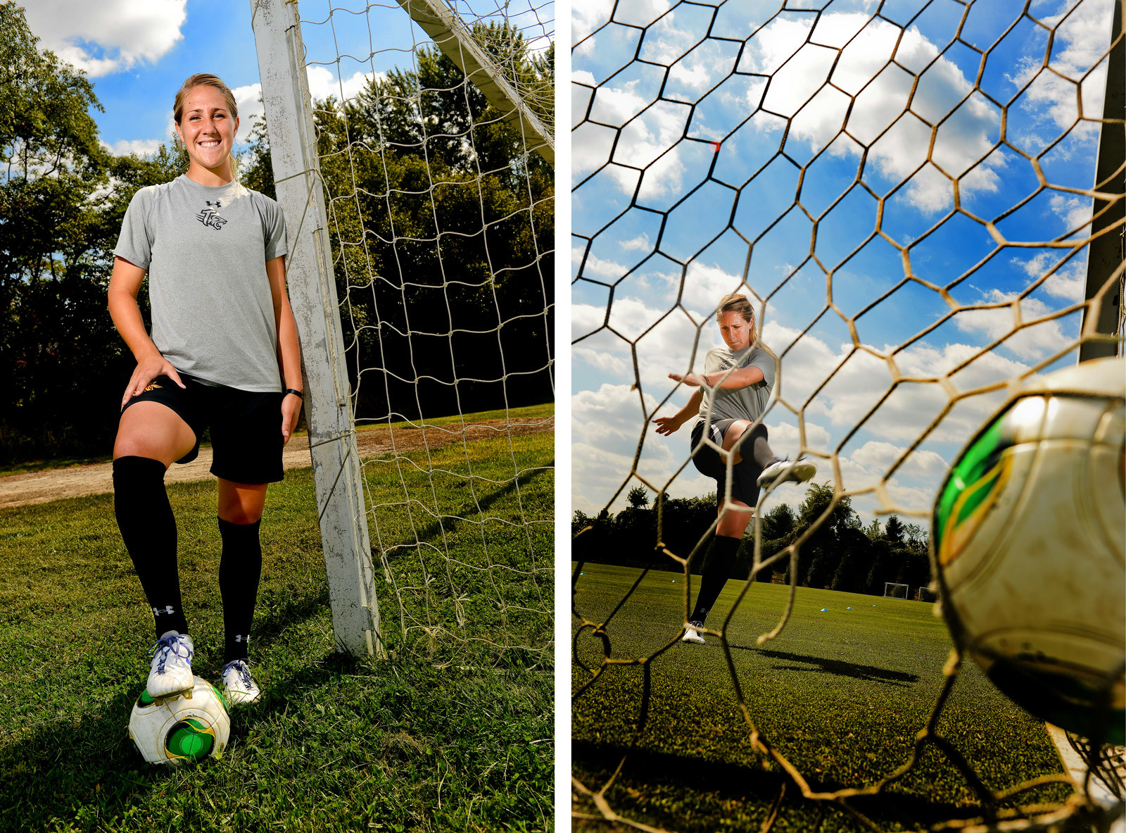 Towson University women's soccer forward Emily Banes poses during practice on Sept. 19, 2013 in Baltimore, Md.