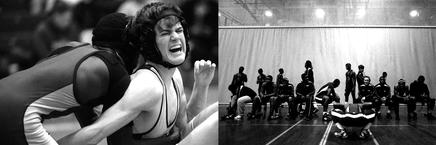 Left image: Ben Hogan, right, of Western Tech yells in pain during his match against Darrius Davanport, left, of New Town on Dec. 12, 2013 in Owings Mills, Md.  Right Image: New Town High School waits for their match against Western Tech High School to begin on Dec. 12, 2013 in Owings Mills, Md.